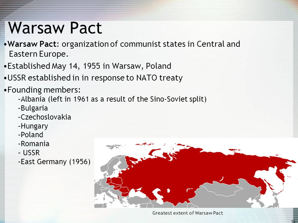 Greatest extent of Warsaw Pact