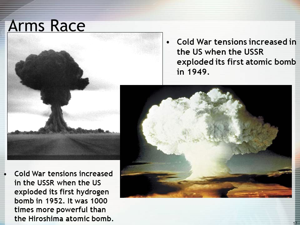 Cold War tensions increased in the US when the USSR exploded its first atomic bomb in 1949.