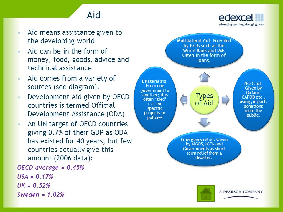 Aid Aid means assistance given to the developing world