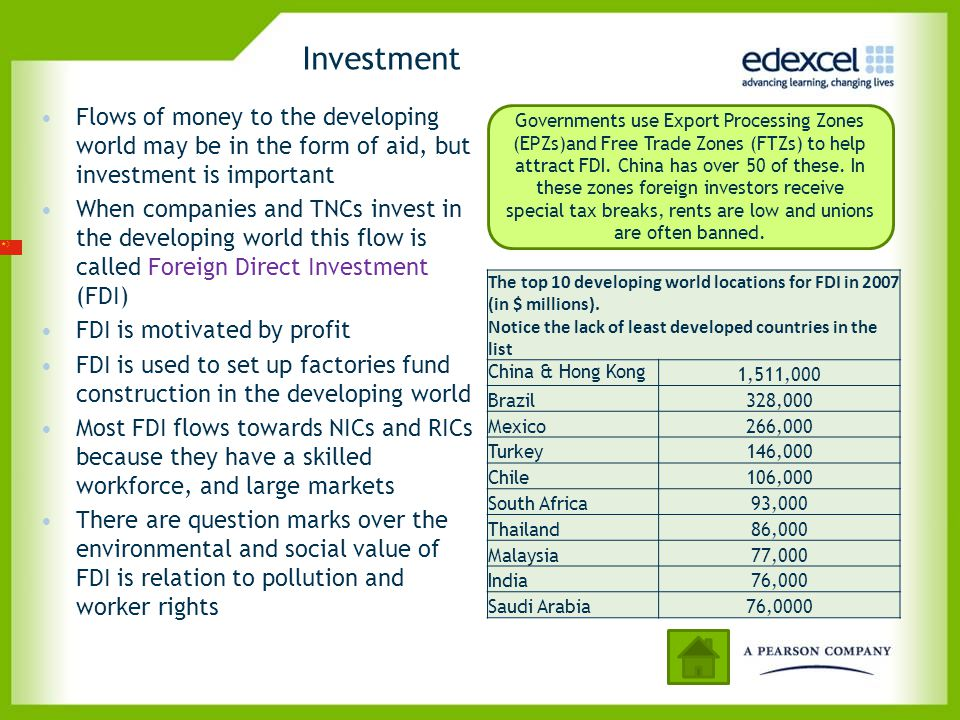 Investment Flows of money to the developing world may be in the form of aid, but investment is important.