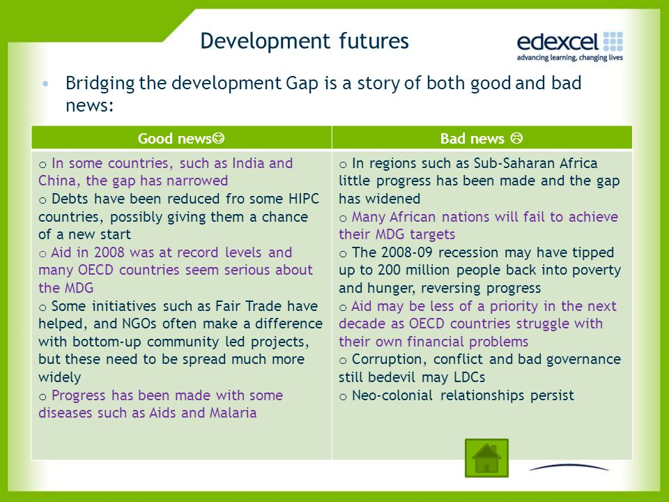 Development futures Bridging the development Gap is a story of both good and bad news: Good news Bad news 