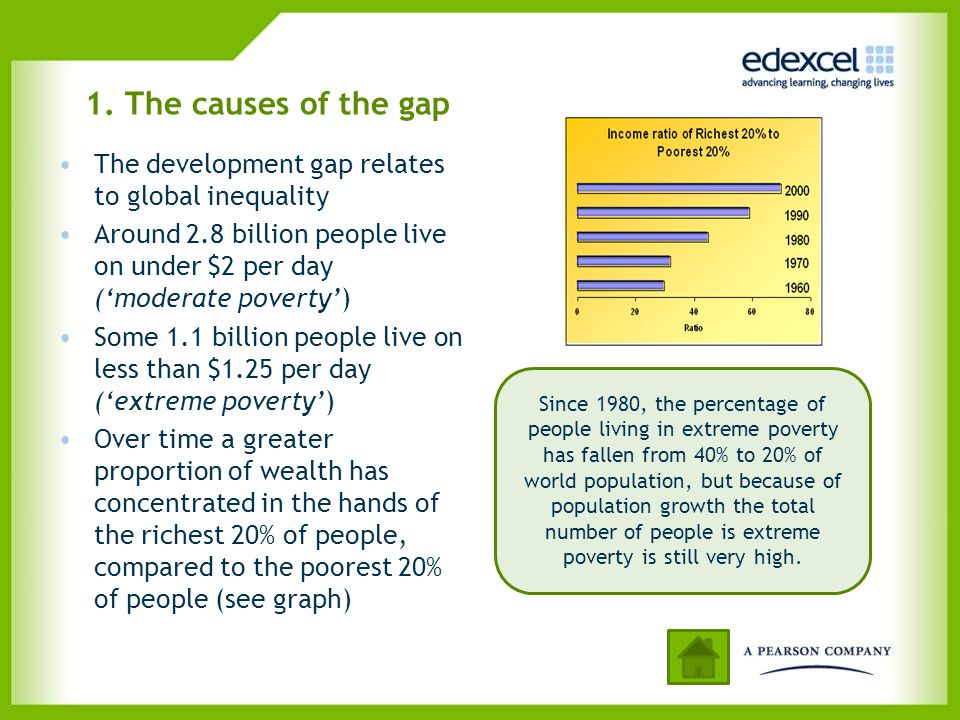 1. The causes of the gap The development gap relates to global inequality. Around 2.8 billion people live on under $2 per day ('moderate poverty')