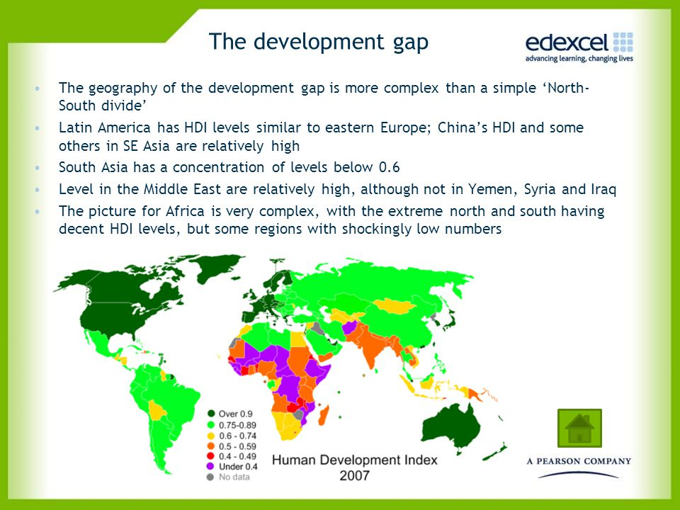 The development gap The geography of the development gap is more complex than a simple 'North-South divide'