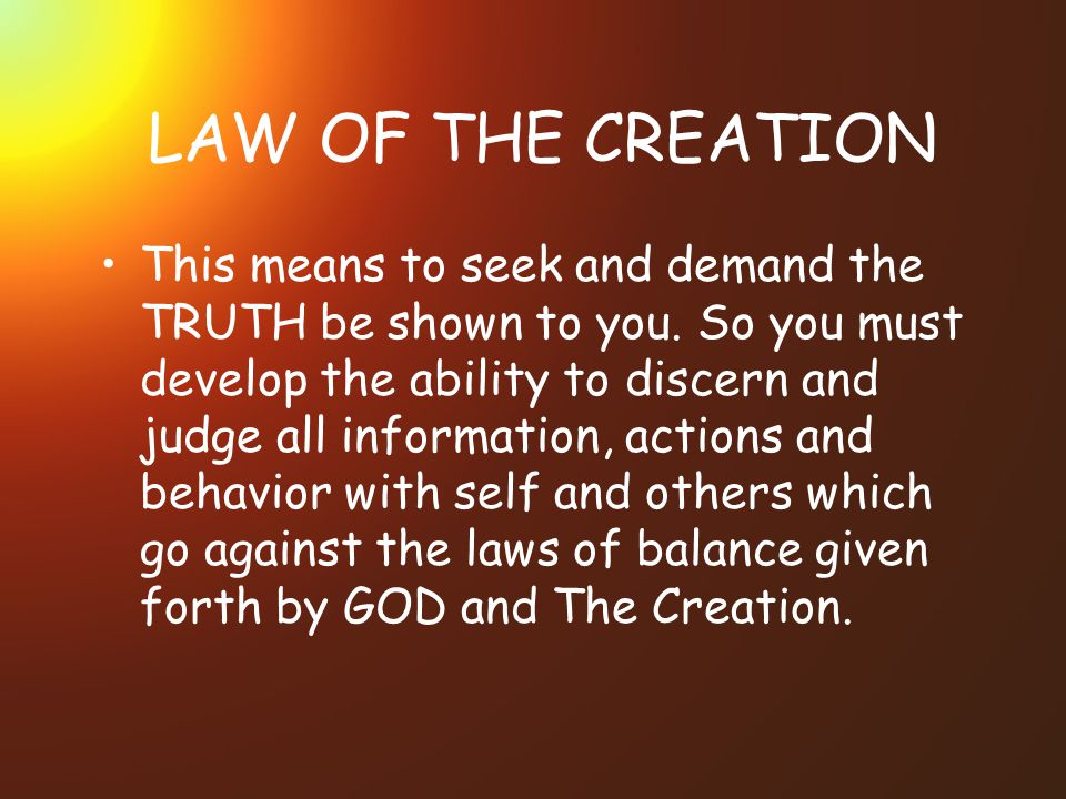 LAW OF THE CREATION