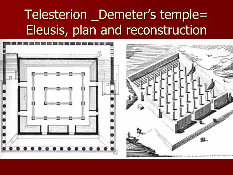 Telesterion _Demeter's temple= Eleusis, plan and reconstruction