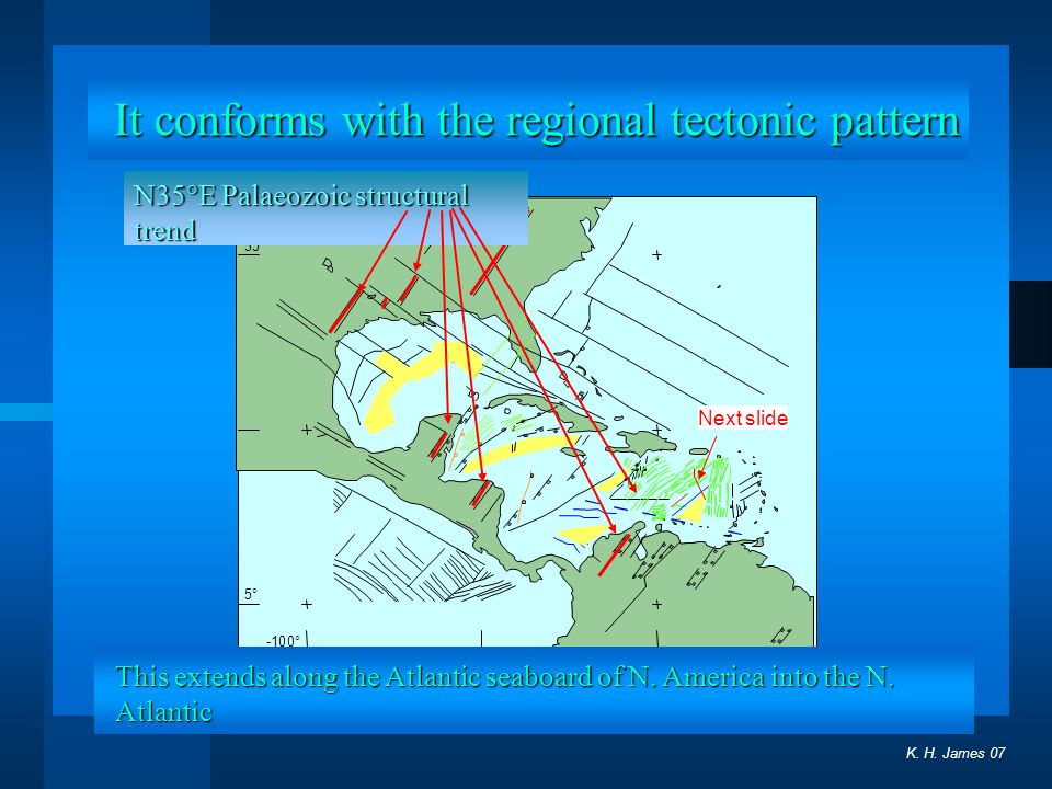 It conforms with the regional tectonic pattern
