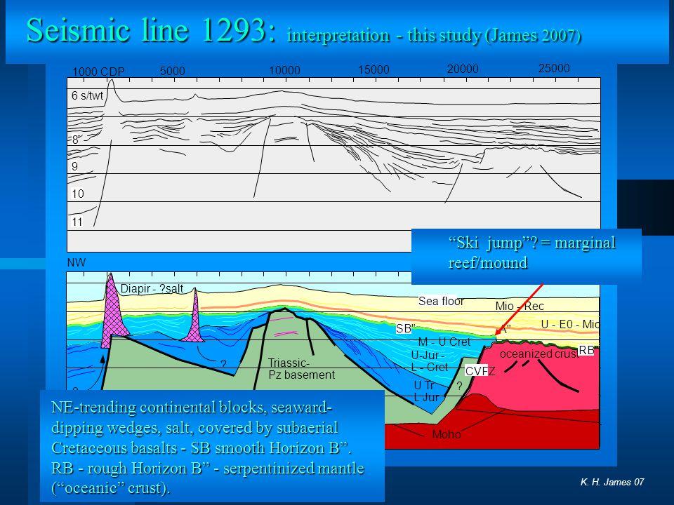 Seismic line 1293: interpretation - this study (James 2007)