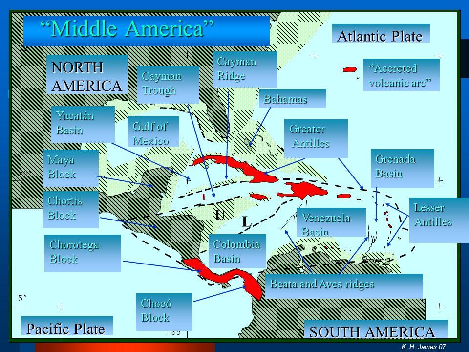 Middle America Atlantic Plate NORTH AMERICA U L Pacific Plate