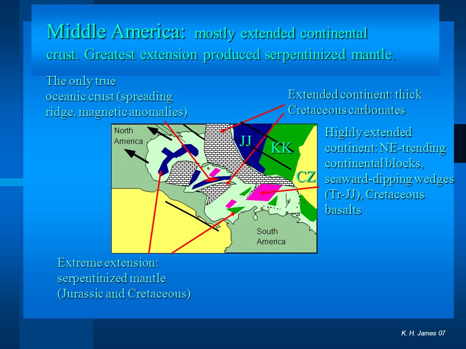 Middle America: mostly extended continental crust