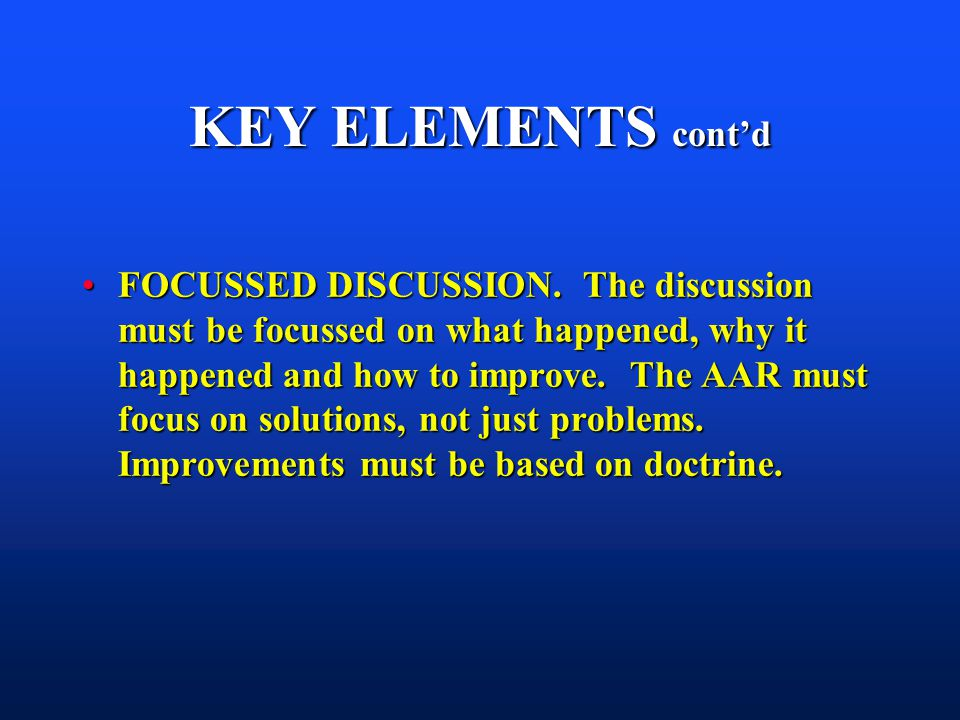 KEY ELEMENTS cont'd