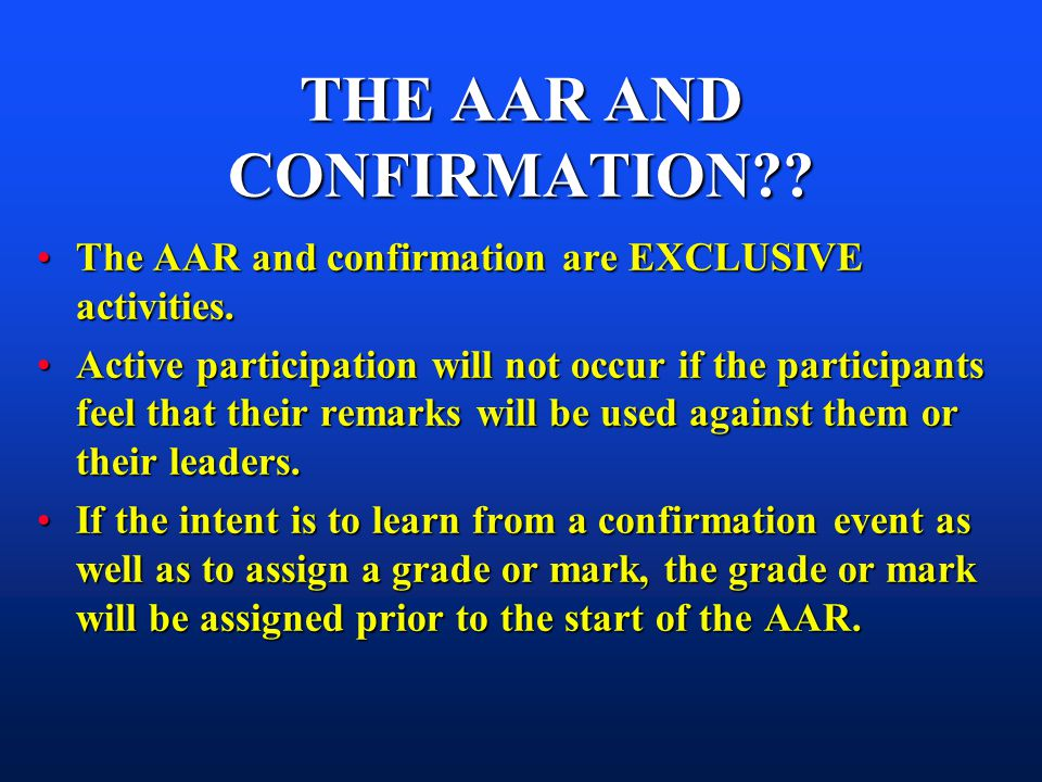 THE AAR AND CONFIRMATION