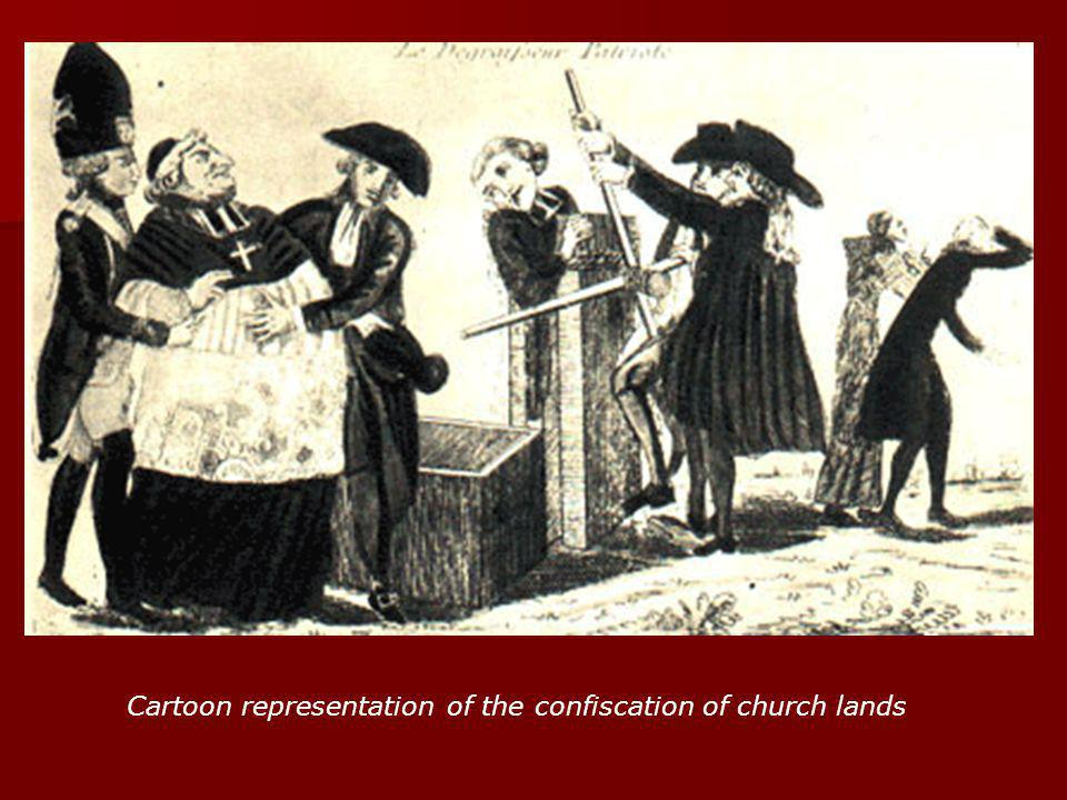 Cartoon representation of the confiscation of church lands