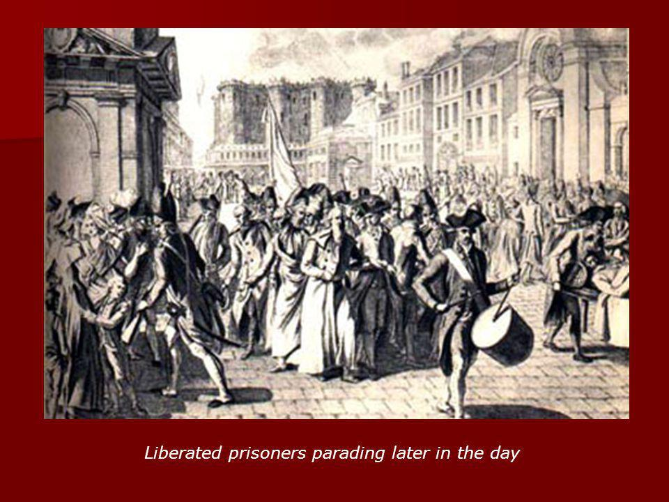 Liberated prisoners parading later in the day