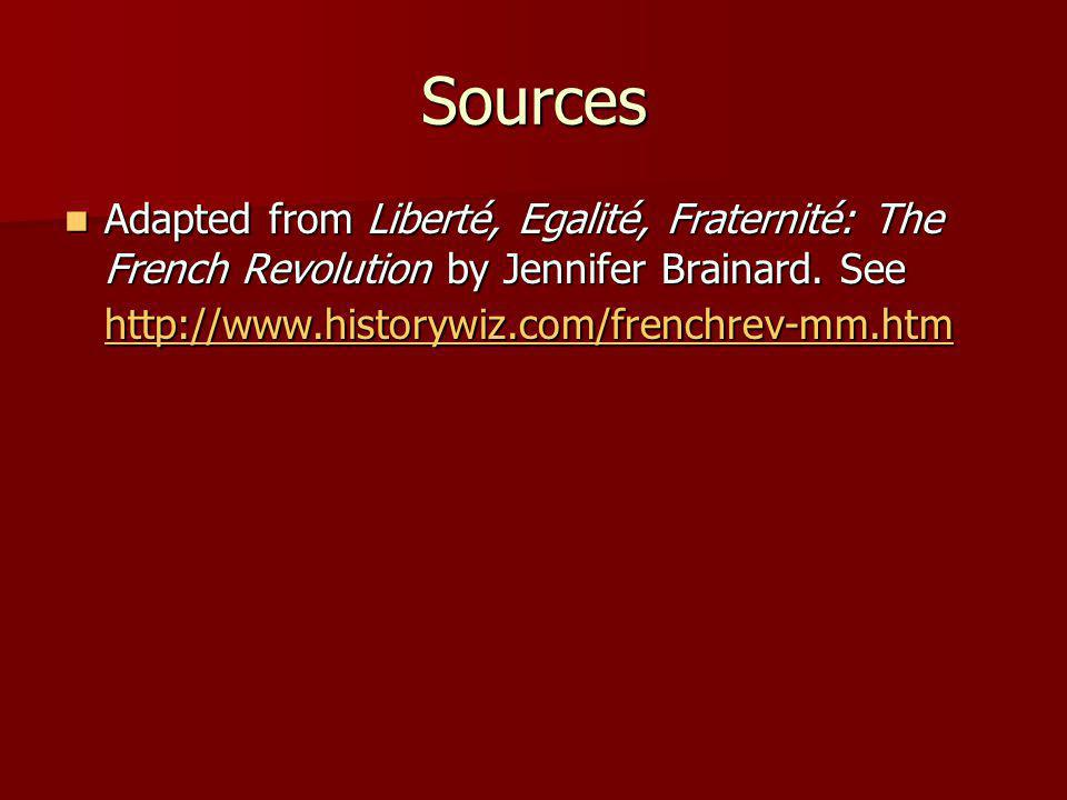 Sources Adapted from Liberté, Egalité, Fraternité: The French Revolution by Jennifer Brainard.