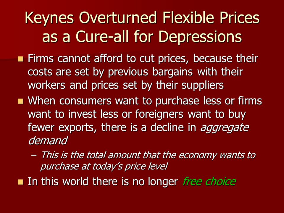 Keynes Overturned Flexible Prices as a Cure-all for Depressions