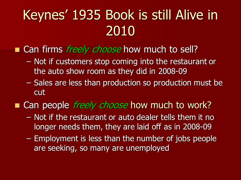 Keynes' 1935 Book is still Alive in 2010