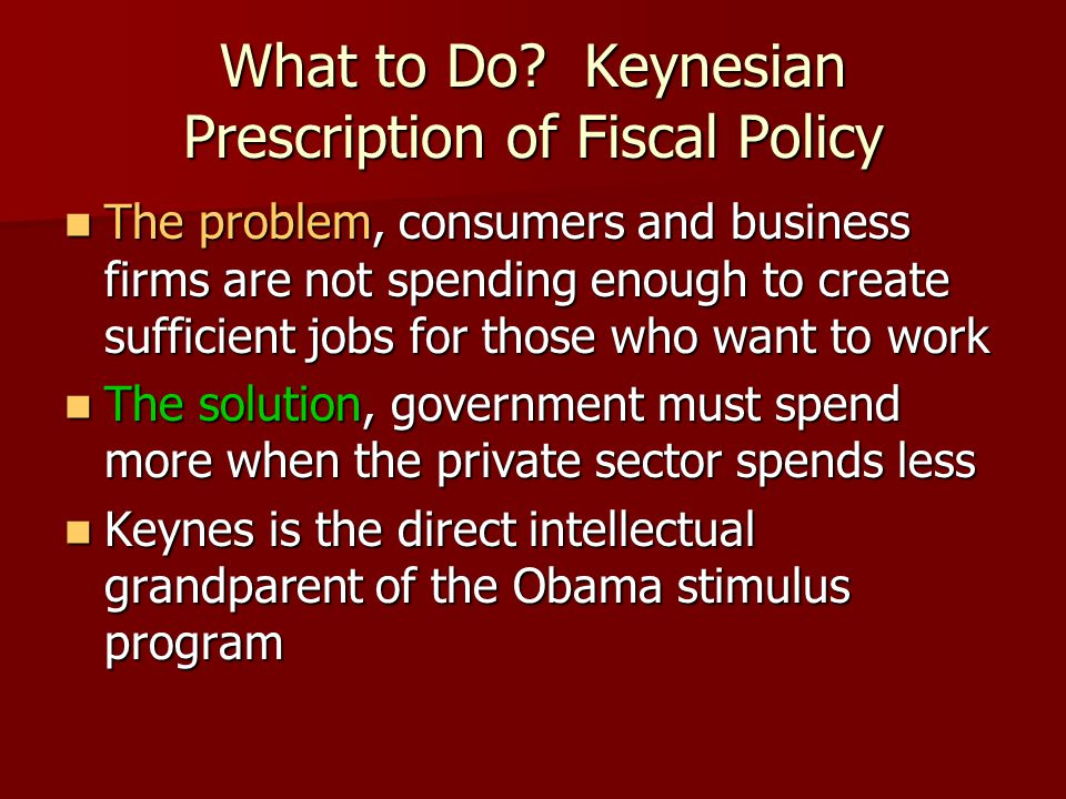 What to Do Keynesian Prescription of Fiscal Policy