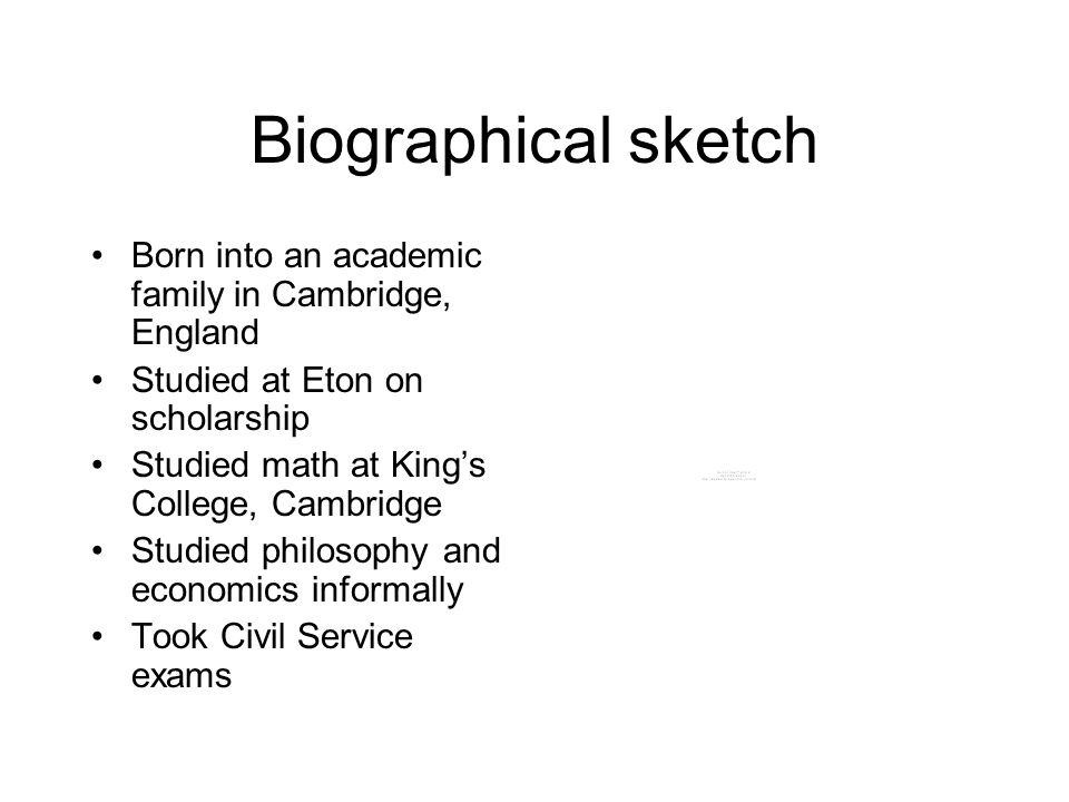 Biographical sketch Born into an academic family in Cambridge, England