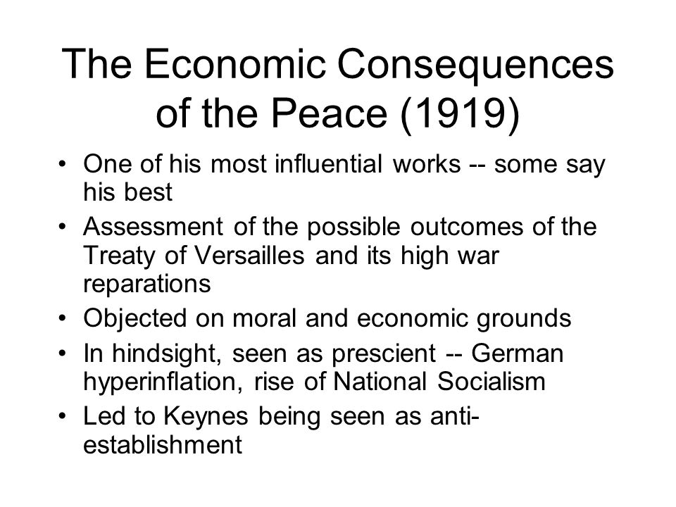 The Economic Consequences of the Peace (1919)