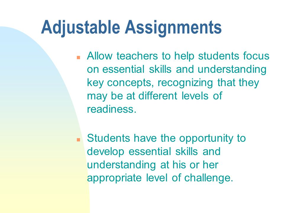Adjustable Assignments