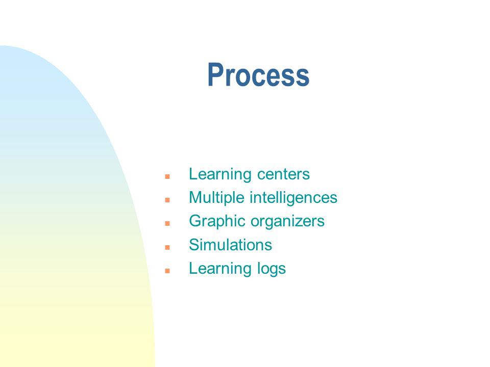 Process Learning centers Multiple intelligences Graphic organizers
