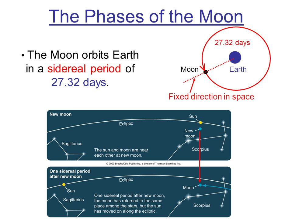 The Moon orbits Earth in a sidereal period of 27.32 days.