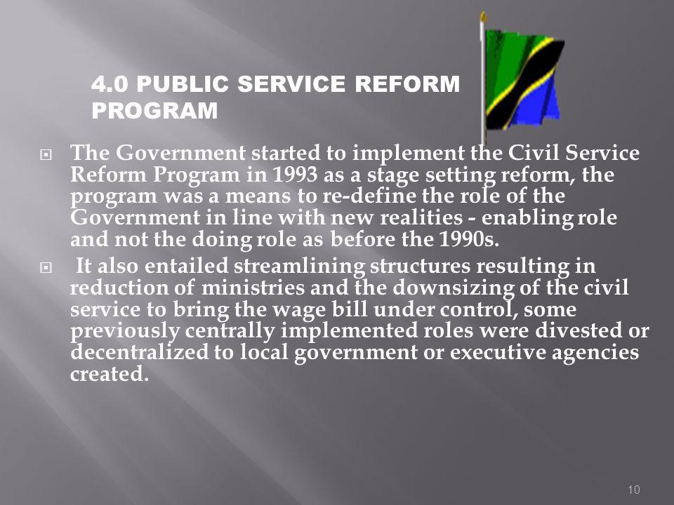 4.0 PUBLIC SERVICE REFORM PROGRAM