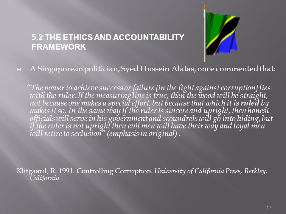 5.2 THE ETHICS AND ACCOUNTABILITY FRAMEWORK
