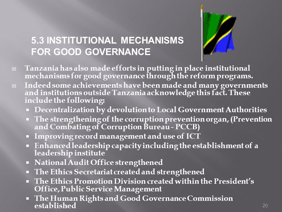5.3 INSTITUTIONAL MECHANISMS FOR GOOD GOVERNANCE