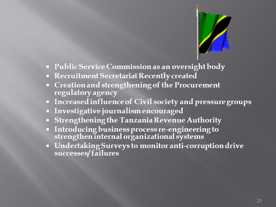 Public Service Commission as an oversight body