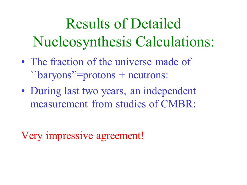 Results of Detailed Nucleosynthesis Calculations: