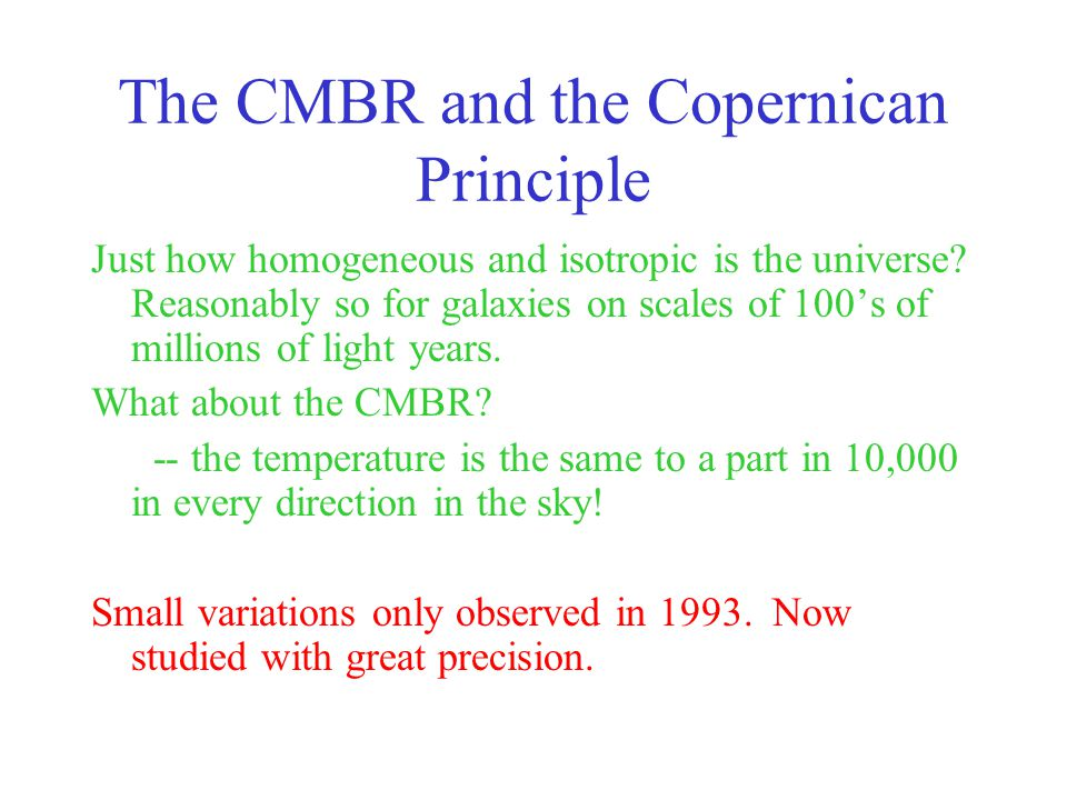 The CMBR and the Copernican Principle