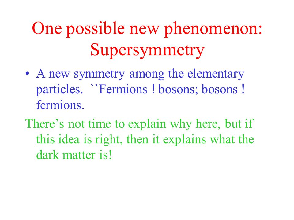 One possible new phenomenon: Supersymmetry