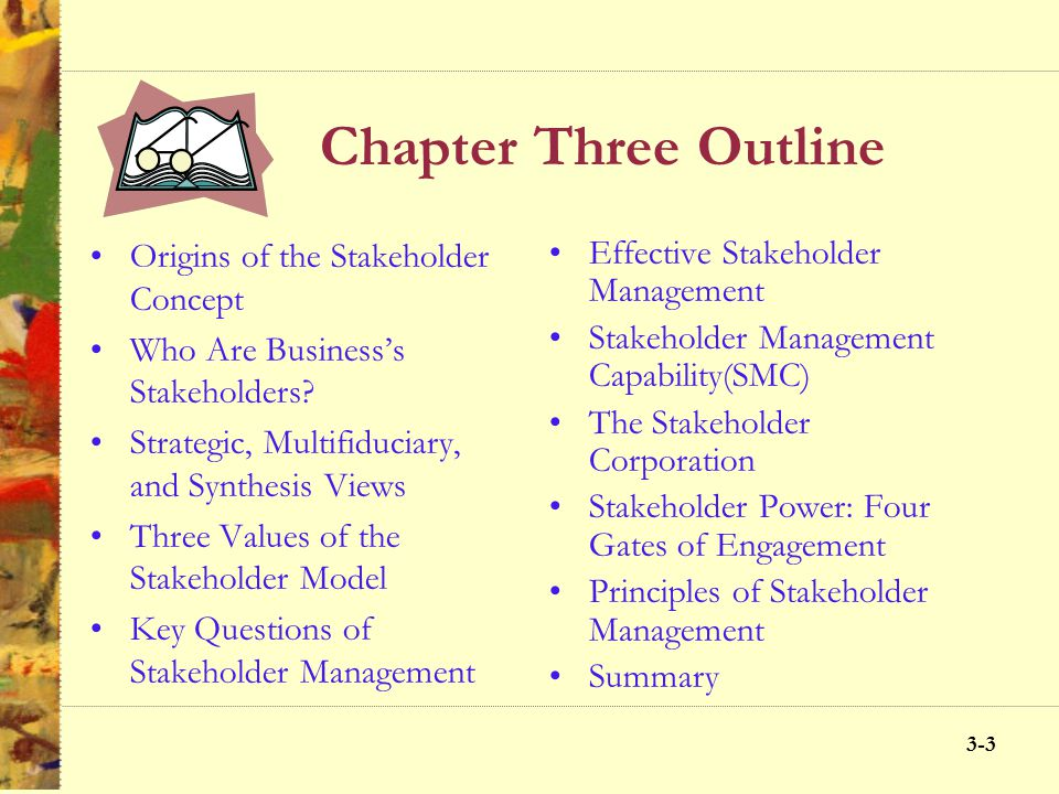 Chapter Three Outline Origins of the Stakeholder Concept