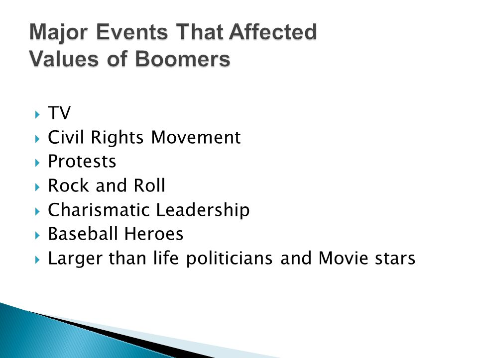 Major Events That Affected Values of Boomers