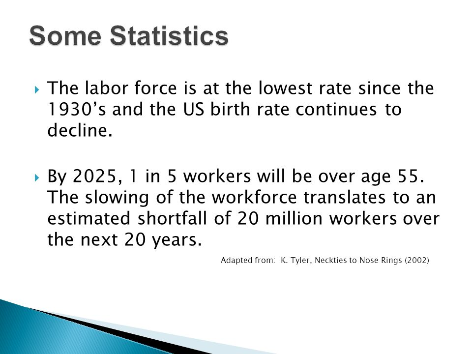 Some Statistics The labor force is at the lowest rate since the 1930's and the US birth rate continues to decline.