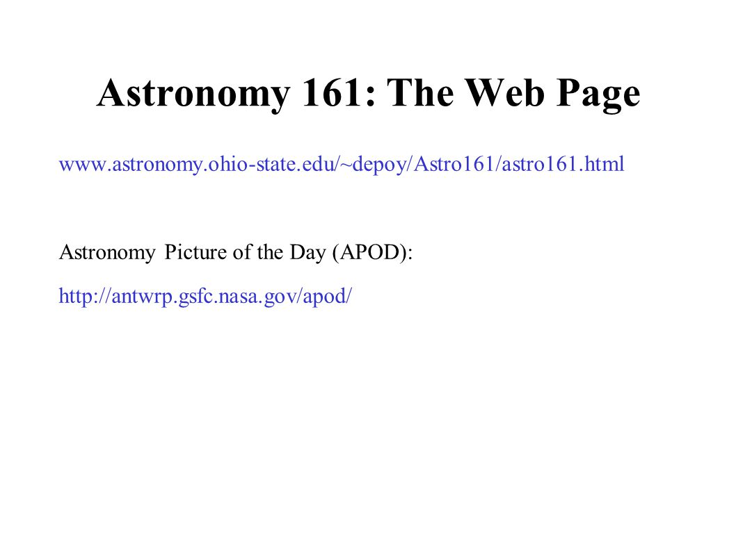 Astronomy 161: The Web Page