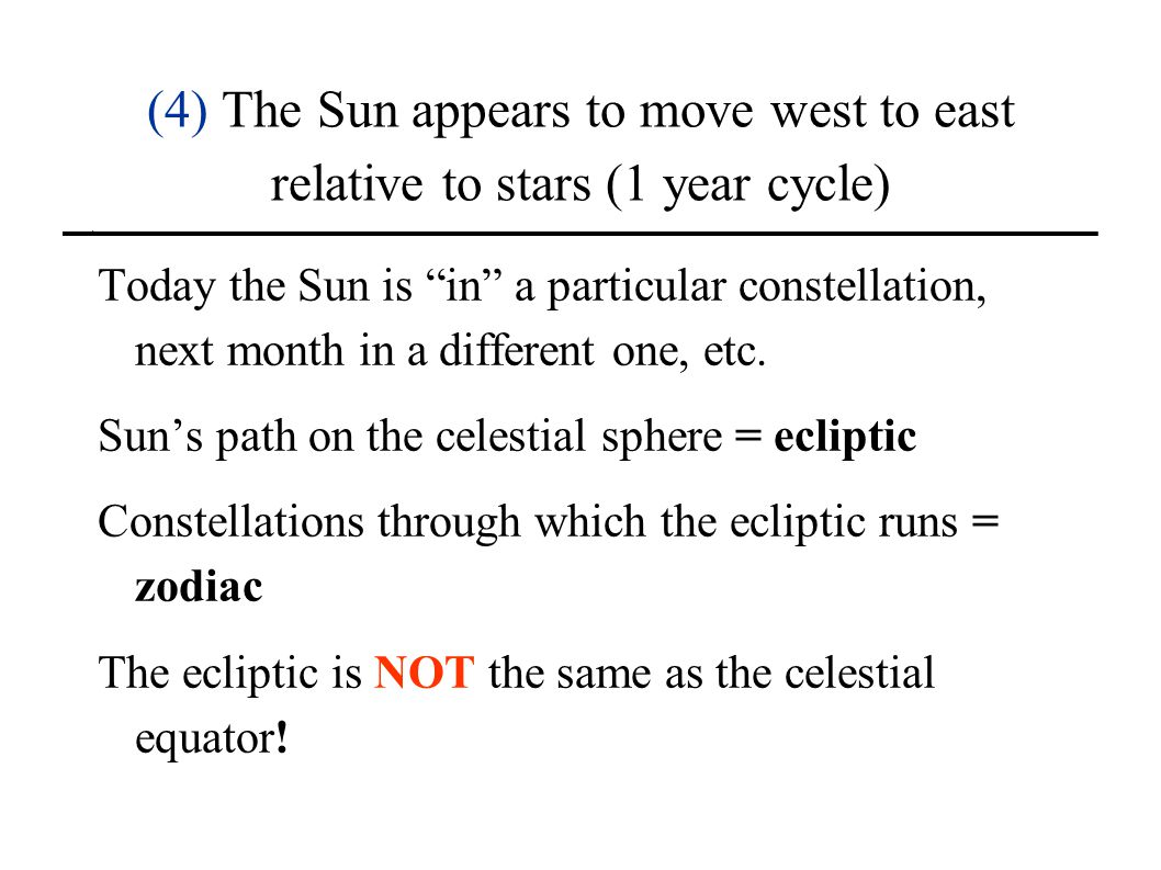 (4) The Sun appears to move west to east relative to stars (1 year cycle)