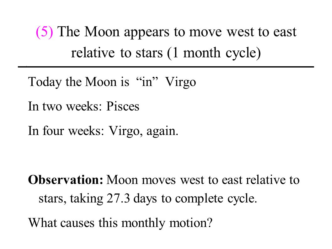(5) The Moon appears to move west to east relative to stars (1 month cycle)