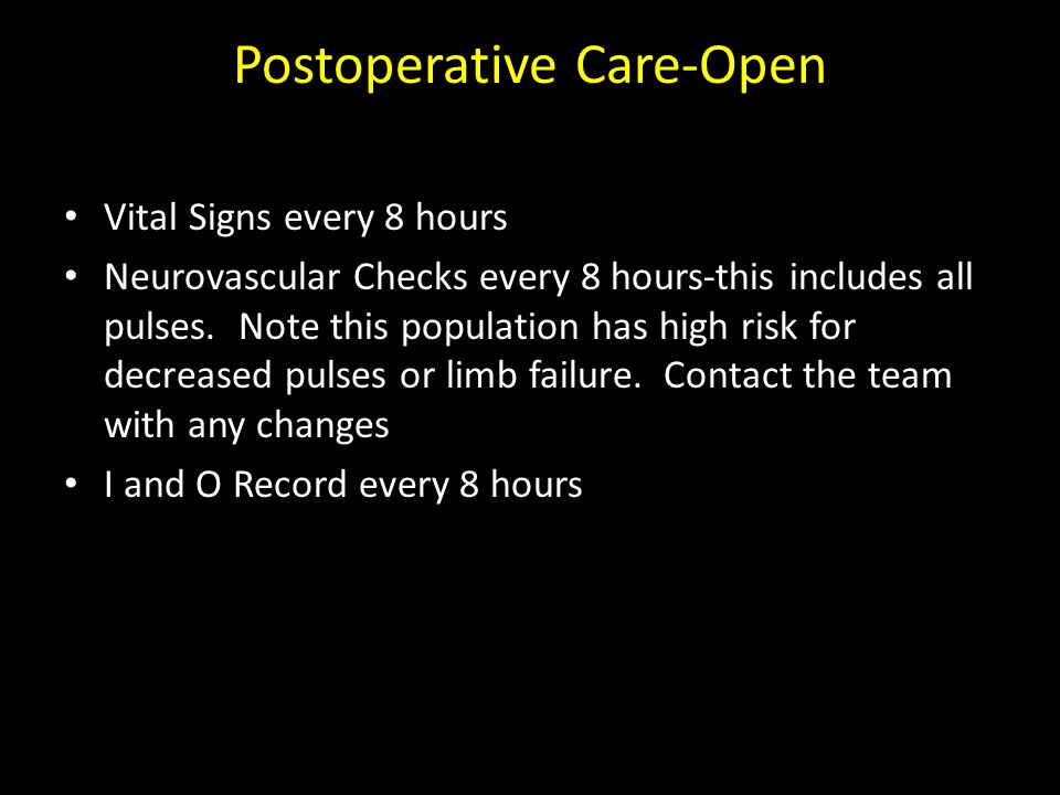 Postoperative Care-Open