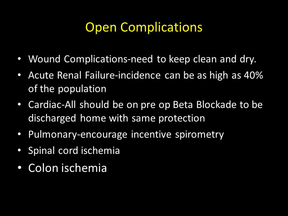 Open Complications Colon ischemia
