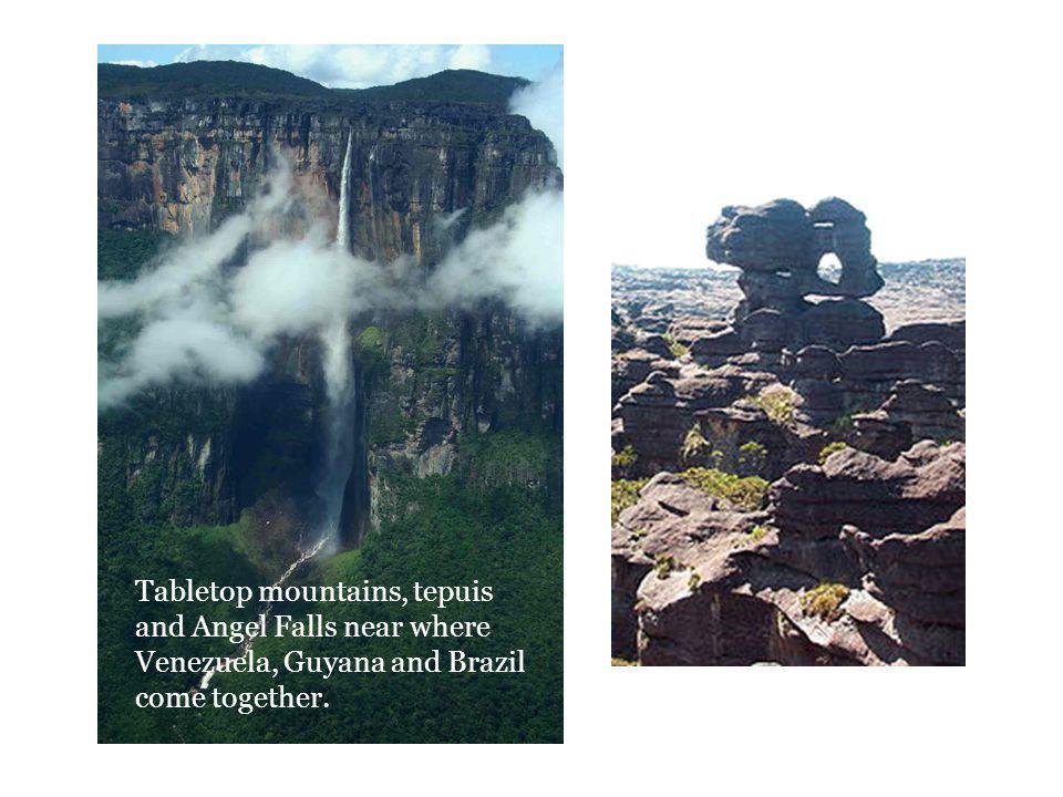 Tabletop mountains, tepuis and Angel Falls near where