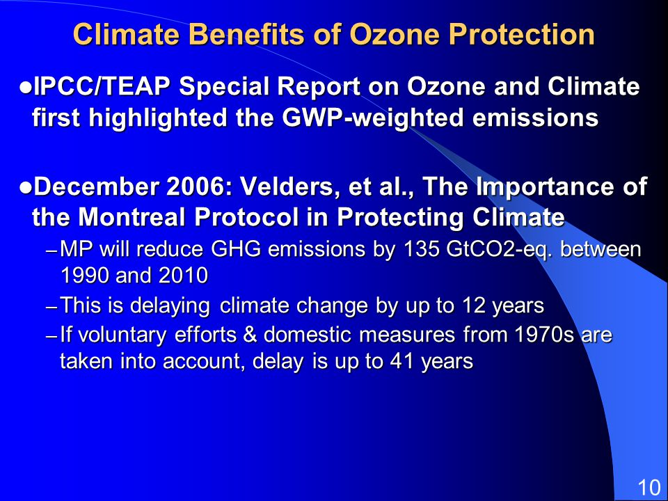 Climate Benefits of Ozone Protection
