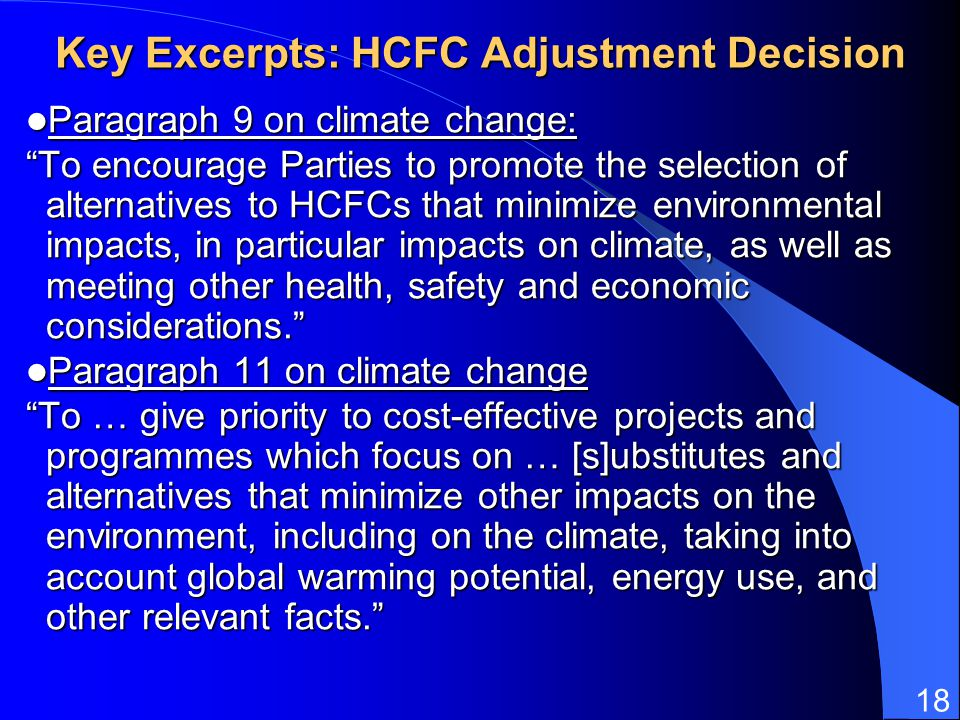 Key Excerpts: HCFC Adjustment Decision