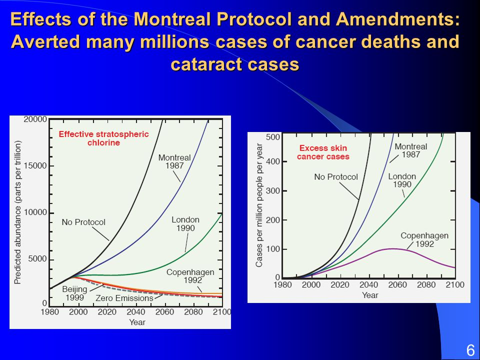 Effects of the Montreal Protocol and Amendments: Averted many millions cases of cancer deaths and cataract cases