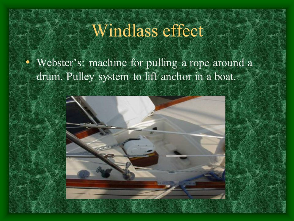 Windlass effect Webster's: machine for pulling a rope around a drum.