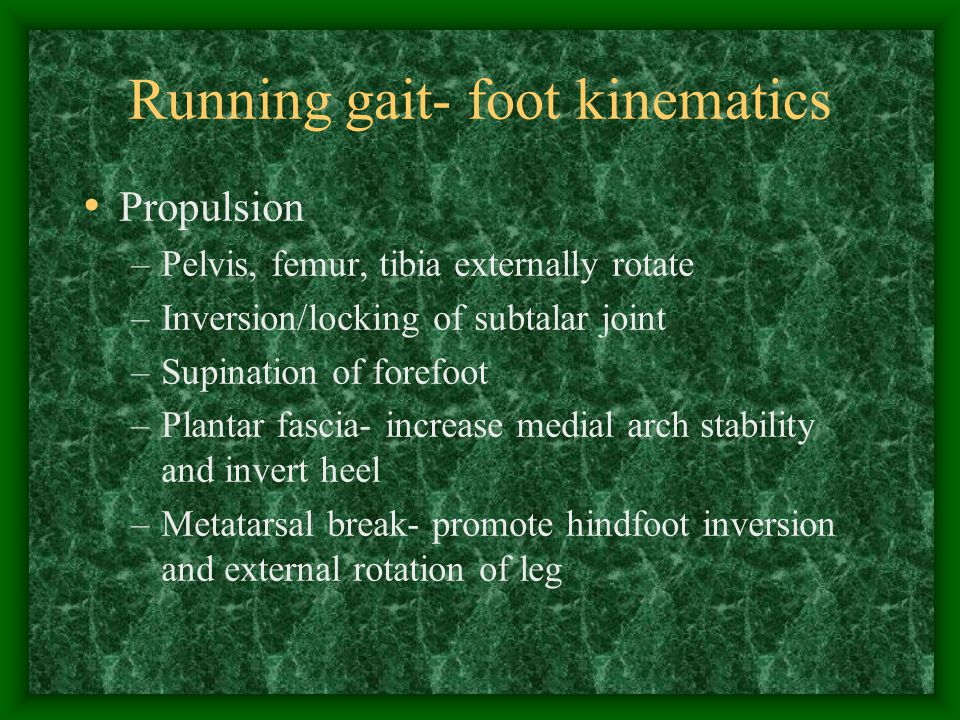Running gait- foot kinematics