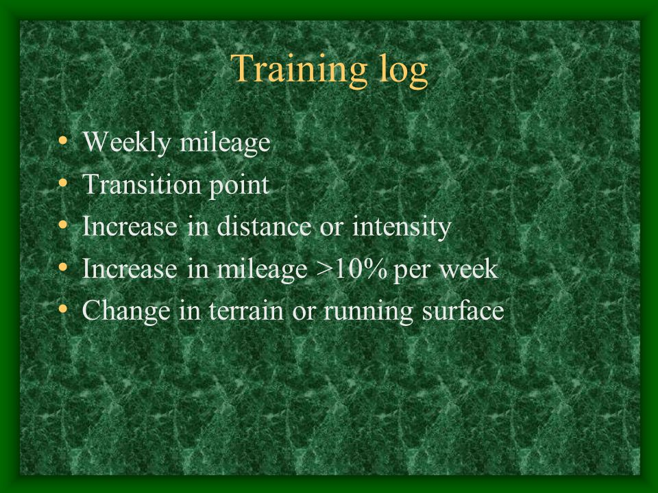 Training log Weekly mileage Transition point