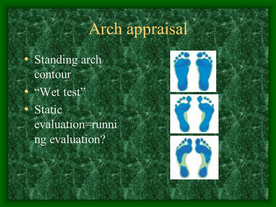 Arch appraisal Standing arch contour Wet test