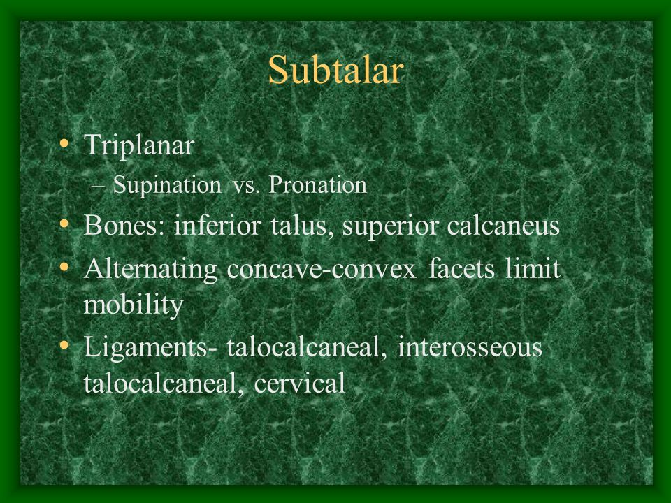 Subtalar Triplanar Bones: inferior talus, superior calcaneus